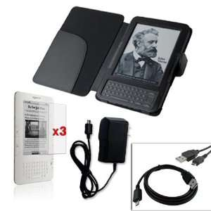 + Black Leather Case Cover for  Kindle 3G(Newest Generation