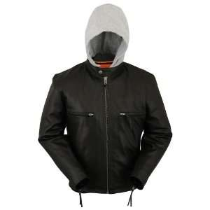 Mens Hooded Black Leather Motorcycle Jacket [Medium] Automotive