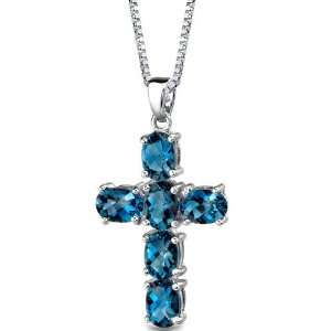 London Blue Topaz CROSS Pendant with 18 inch Silver Necklace peora