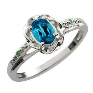 0.56 Ct Oval London Blue Topaz Green Diamond 18K White
