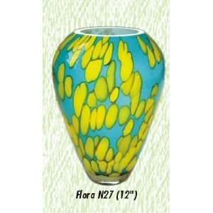 Blue and Yellow Flora Vase Hand Blown Modern Glass Vase