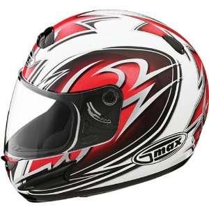GMAX GM38 Mens Street Motorcycle Helmet   White/Red/Black