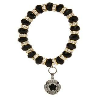 Clear Crystal Stretch Bracelet with Spinner Charm Jewelry