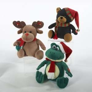 Pack of 6 Battery Operated Moose, Bear & Frog Musical Christmas