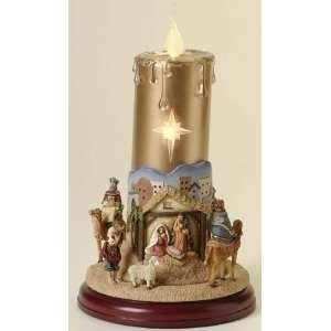 Musical Christmas Candle with Rotating Nativity Scene