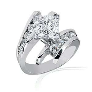 1.4 Ct Princess Cut Diamond Engagement Ring Channel Set
