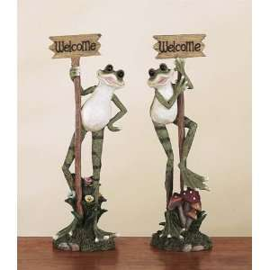 Two (2) 18 Tall Frog Statue Welcome Signs Patio, Lawn