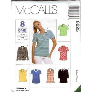 McCalls Sewing Pattern 8625 Misses V neck Shirts   8 Styles, Size Y