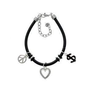 Black Dollar Sign Black Peace Love Charm Bracelet Arts