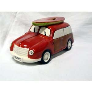 Ceramic Woody Coin Piggy Bank w/ Surfboard Red 7.5 X 3.25