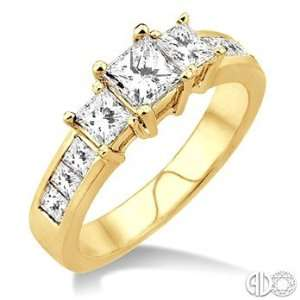 Ctw Nine Stone Princess Cut Diamond Engagement Ring in 14K Yellow Gold