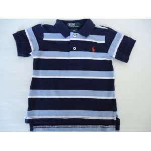 Ralph Lauren Polo Pony Baby Boy Mesh Shirt with Blue Stripes, Size 9