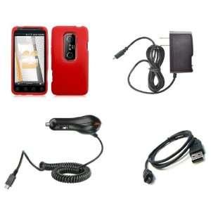 HTC EVO 3D (Sprint) Premium Combo Pack   Red Silicone Soft Skin