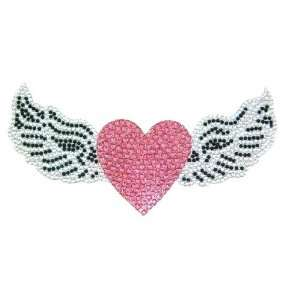 Pink Heart with Angel Wings Crystal Rhinestone Removable Decal Sticker