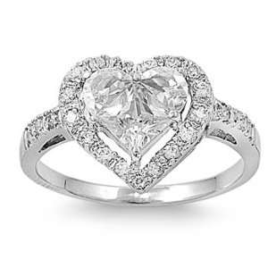 .925 Sterling Silver Heart Halo Ring with Clear CZ Stones