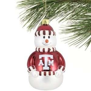 Texas A&M Aggies Blown Glass Snowman Ornament