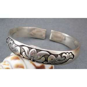 Tibetan Silver Twin Fishes Flower Bangle Cuff Everything