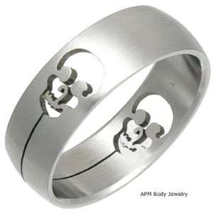 Stainless Steel Ring Laser Cut   Skull