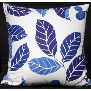 Cushion Pillow Cover 19 20   Blue Leaves on White