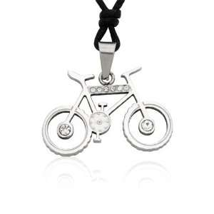 Bicycle with CZ Crystals Stainless Steel Pendant Necklace Jewelry