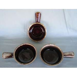 (3) Vintage McCoy Pottery Brown Drip Handled French Onion