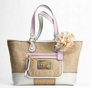 Coach Poppy Natural Straw Signature White Leather Tote Bag