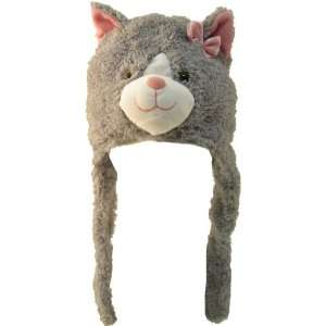 Girls Cute Grey Cat with Pink Bow Plush Hat item# kk1009: Toys & Games