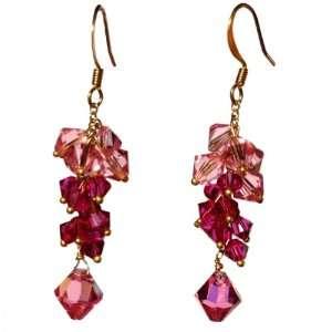 Pink Swarovski Crystal Element Cluster Drop Earrings Jewelry