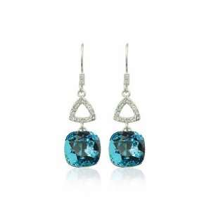 Light Indicolite Crystal Earrings Used Swarovski Crystals
