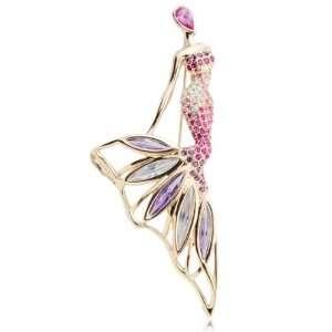 Locker Platinum Plated Swarovski Crystal Sexy Diva Mermaid Brooch Pin