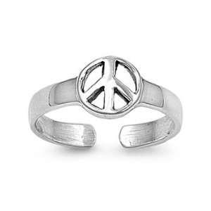 Sterling Silver Peace Sign Toe Ring Jewelry