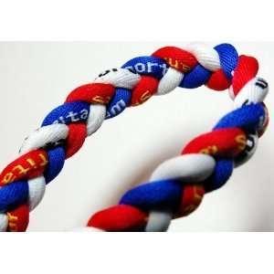 20 Blue/Red/White Titanium Sport Tornado Baseball/Softball Necklace