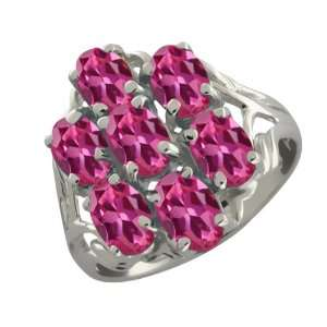 3.50 Ct Oval Pink Tourmaline Sterling Silver Ring Jewelry