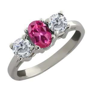 Ct Oval Pink Tourmaline and White Diamond 14k White Gold Ring Jewelry