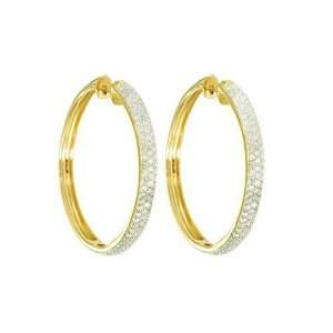 14k Yellow Gold Round Pave Diamond Hoop Earrings (1 cttw, I J Color