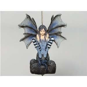 Blue Gothic Fairy Wind Chime   Highly Detailed Goth
