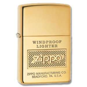 Zippo Logo High Polish Brass Lighter (Gold, 5 1/2x3 1/2 cm