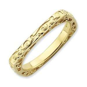 Stackable Expressions Polished Gold plate Square Ring Size 8 Jewelry