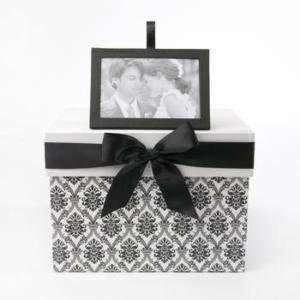 Black & White Damask Wedding Card Box: Everything Else