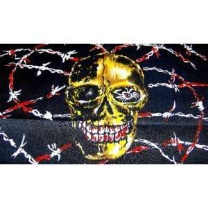Tattoo Golden Skull in Bloody Barbed Wire Bandana: