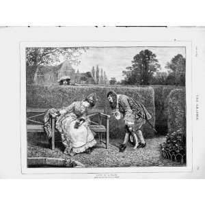 1873 Love Maze Man Woman Romance Garden Old Print Home