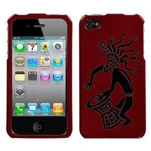 black tribal art man playing bongo design on dark red phone case for