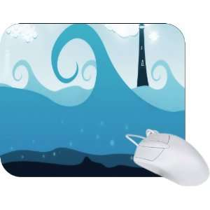 Rikki Knight Lighthouse Blue Waves Design Mouse Pad Mousepad   Ideal