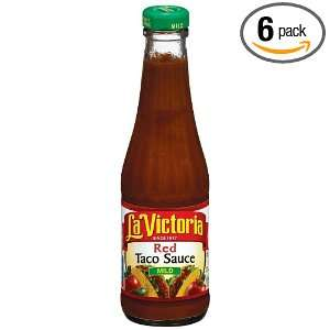 La Victoria Red Taco Sauce, Mild, 12 Ounce Glass Bottle (Pack of 6