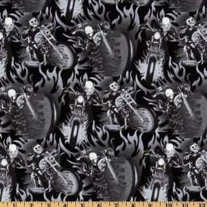 44 Wide Headgear Fire Rider Black/Grey Fabric By The