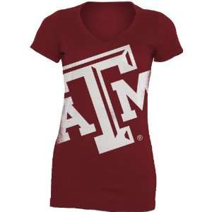 NCAA Texas A&M Aggies Gigantor Ladies V Neck Tee Shirt