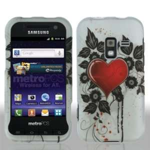 920 Galaxy Attain 4G 4 G White with Red Love Heart Black Flower Leaves