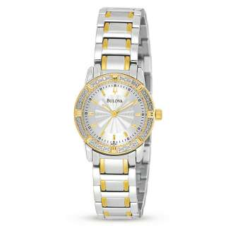 Bulova Ladies Diamond Bezel Two Tone Watch 98R143 NWT
