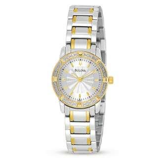 Bulova Ladies Diamond Bezel Two Tone Watch 98R143 NWT |