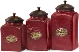 Ceramic Red Canisters Set Of 3 Kitchen Decor Home Decor